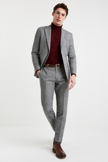 Moss 1851 Tailored Fit Black and White Textured Check Jacket
