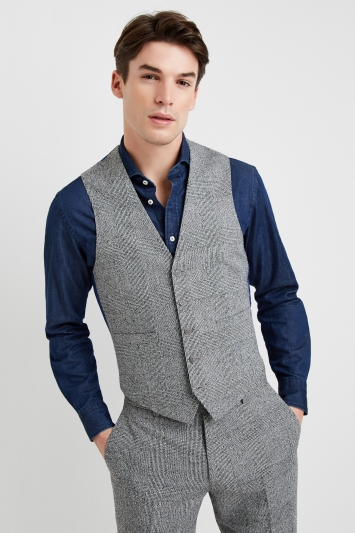 Moss 1851 Tailored Fit Black and White Textured Check Lightweight Jacket