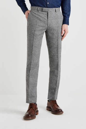 Moss 1851 Tailored Fit Black and White Textured Check Trouser