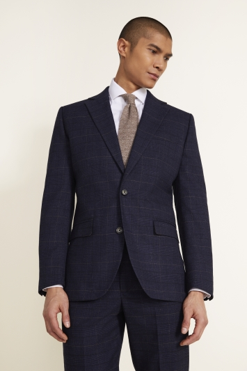 Moss 1851 Tailored Fit Navy Black Check Jacket