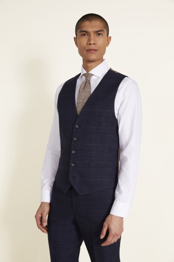 Moss 1851 Tailored Fit Navy Black Check Waistcoat