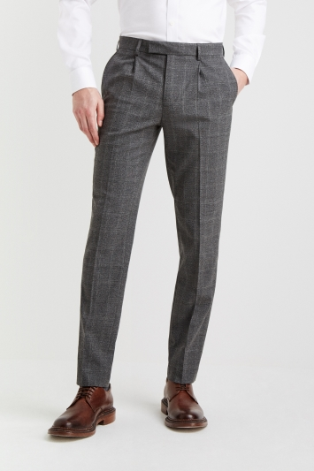 Moss 1851 Tailored Fit Grey Scratch Check Linen Look Trousers