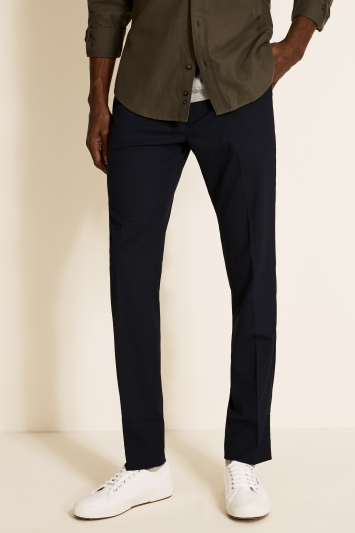 Moss London Slim Fit Navy Broken Check Trousers