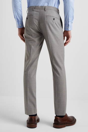 Moss London Slim Fit Grey Prince Of Wales Check Trousers