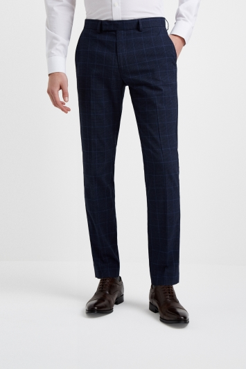 Moss London Slim Fit Blue Bouclé Check Trousers