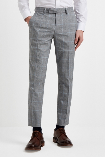 Moss London Slim Fit Grey POW with Blue Boucle Windowpane Cropped Trousers