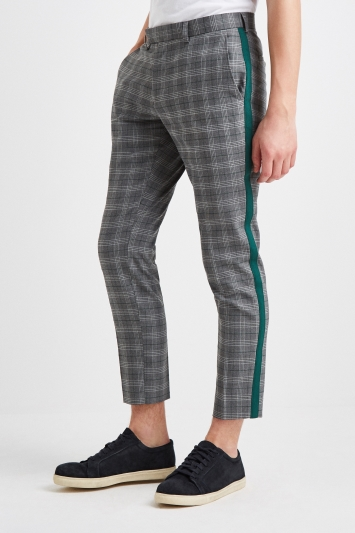 Moss London Slim Fit Check with Green Stripe Trousers