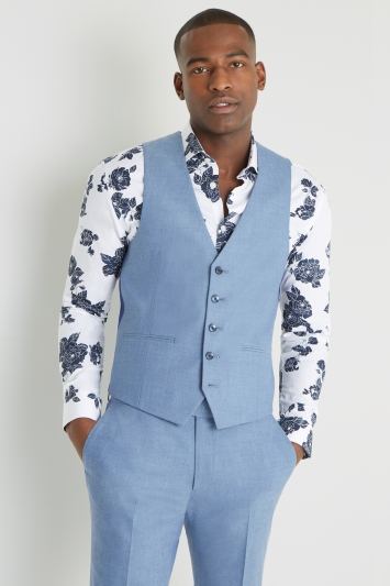 Moss London Slim Fit Chambray Waistcoat