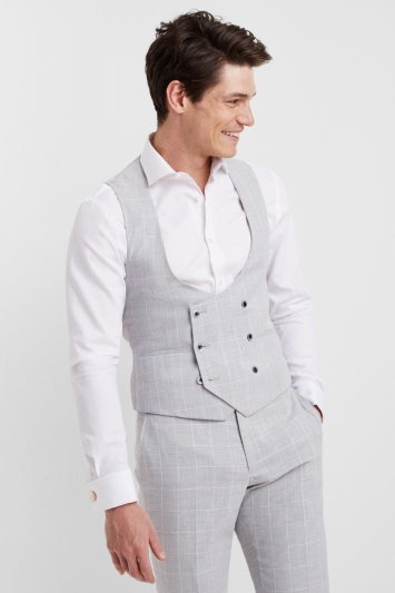 Moss London Slim Fit Grey Clementine Windowpane Jacket