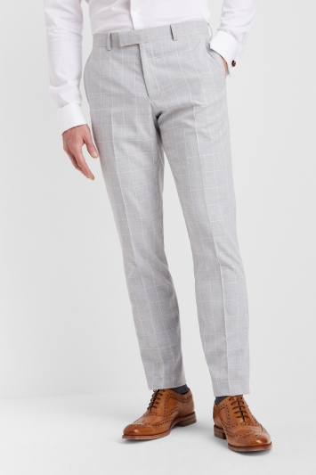Moss London Slim Fit Grey Clementine Windowpane Trousers