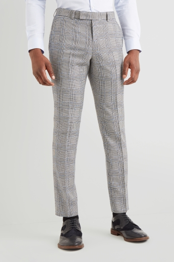 Moss London Slim Fit Black & White Sky Check Trousers