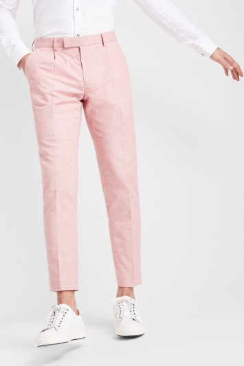 Moss London Pink Linen Look Trousers