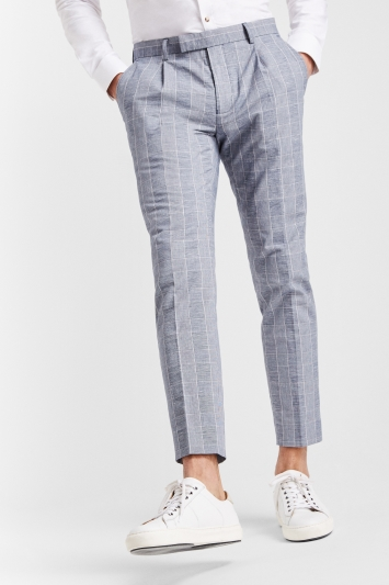 Moss London Slim Fit Blue Prince Of Wales Check Linen Look Trousers