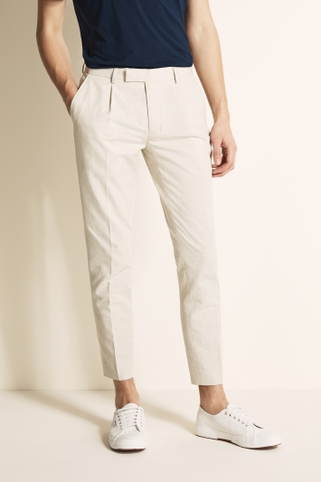 Moss London Slim Fit Stone Linen Look Trousers
