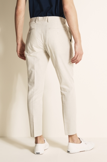 Moss London Slim Fit Stone Linen Blend Single Pleat Cropped Trouser