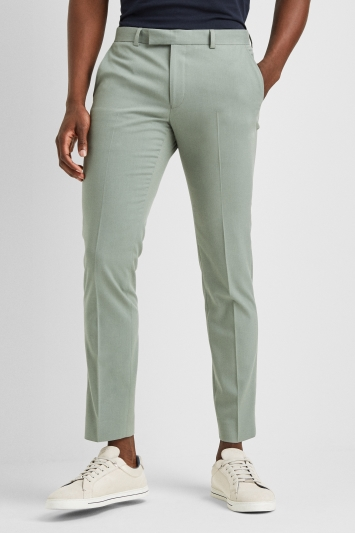 Moss London Slim Fit Dusty Khaki Trousers