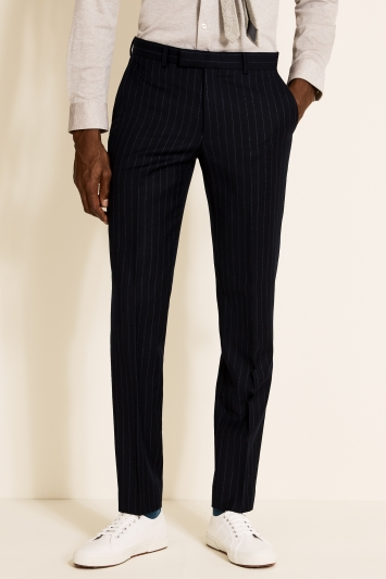 Moss London Slim Fit Blue Stripe Trousers
