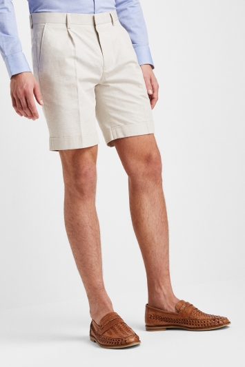 Moss London Stone Linen Blend Shorts