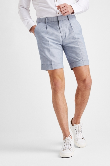 Moss London Blue Stripe Linen Look Shorts