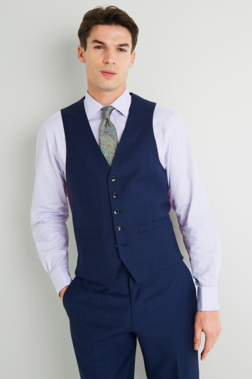 Savoy Taylors Guild Regular Fit Blue Check Waistcoat
