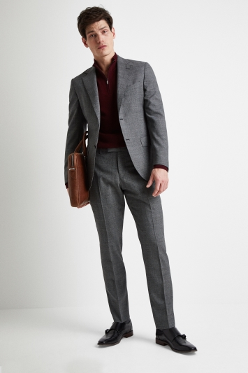 Vitale Barberis Canonico Tailored Fit Grey Twisted Puppytooth Jacket