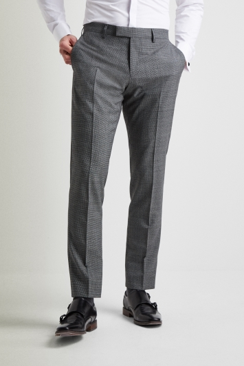Vitale Barberis Canonico Tailored Fit Grey Twisted Puppytooth Trousers
