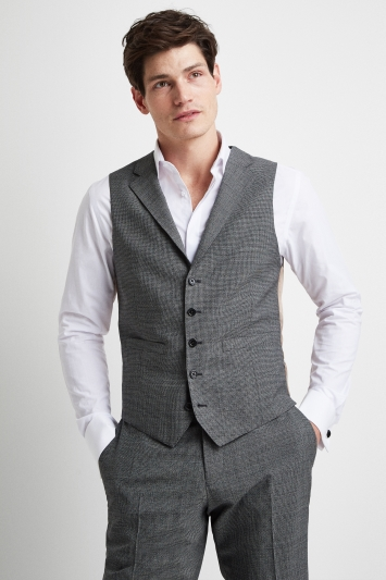 Vitale Barberis Canonico Tailored Fit Grey Twisted Puppytooth Waistcoat