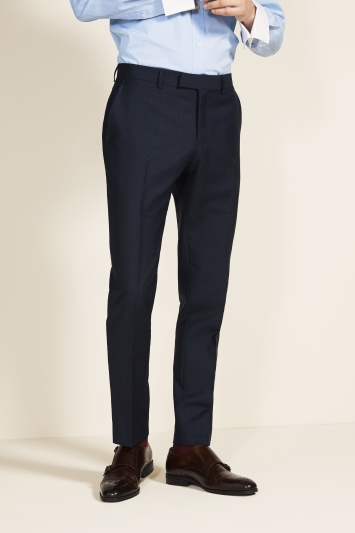 Vitale Barberis Canonico Tailored Fit Navy Check Trousers