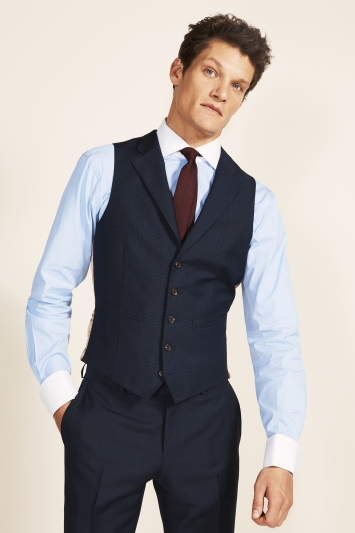 Vitale Barberis Canonico Tailored Fit Navy Check Waistcoat