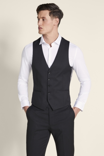 Moss London Slim Fit Charcoal Stretch Waistcoat