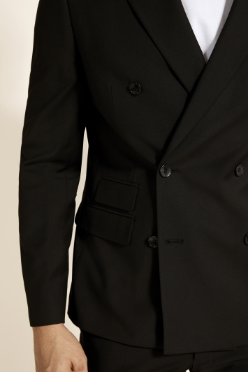 Moss London Slim Fit Black Double Breasted Stretch Jacket