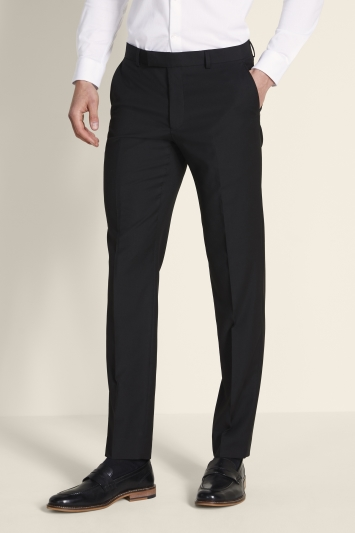 Moss London Slim Fit Black Stretch Trousers