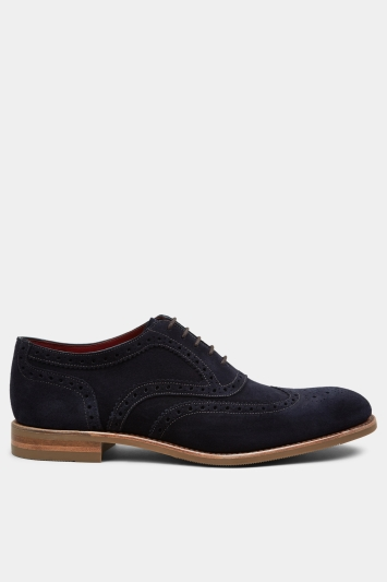 Loake Kerridge Navy Suede Wingtip Oxford
