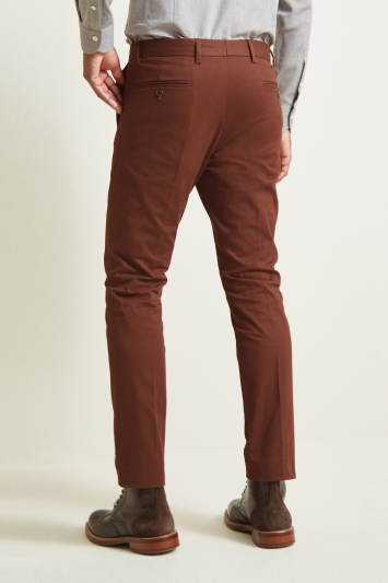 Moss London Slim Fit Rust Stretch Chino
