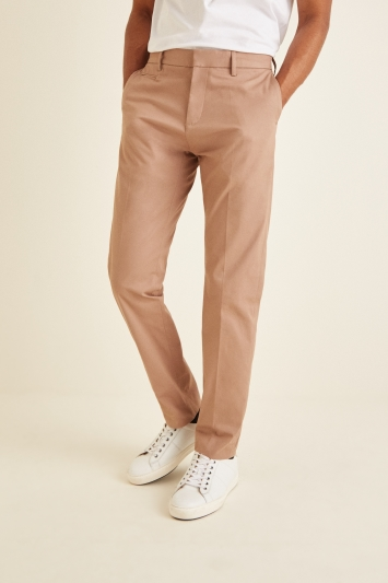 Moss London Slim Fit Taupe Stretch Chino
