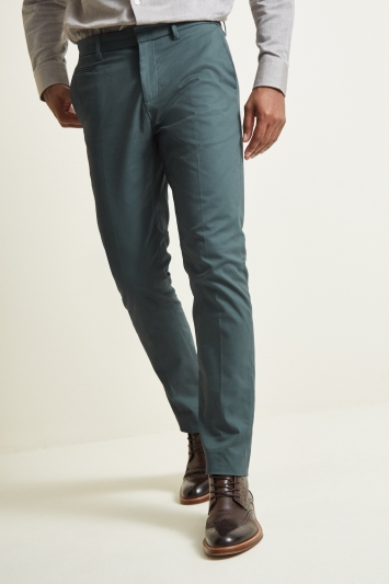 Moss London Slim Fit Peacock Blue Stretch Chino