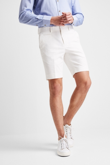 Moss London Slim Fit White Stretch Chino Short