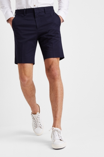 Moss London Slim Fit Navy Stretch Chino Short