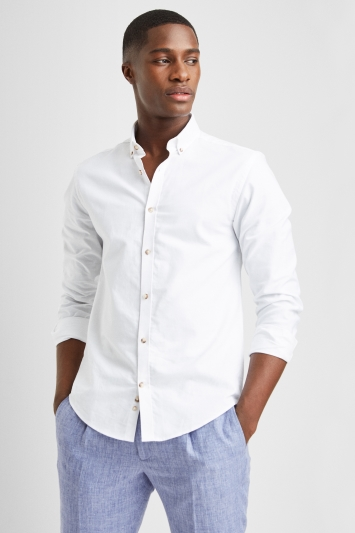 Moss London Skinny Fit White Single Cuff Oxford Button Down Shirt