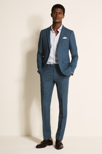 DKNY Slim Fit Summer Blue Texture Jacket
