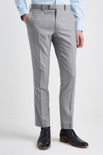 DKNY Slim Fit Light Grey Texture Trousers