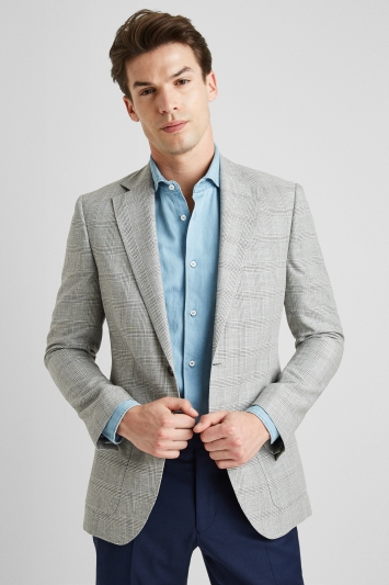 Moss 1851 Tailored Fit Grey Check Jacket