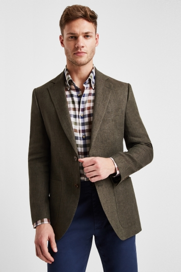 Moss 1851 Tailored Fit Khaki Linen Jacket