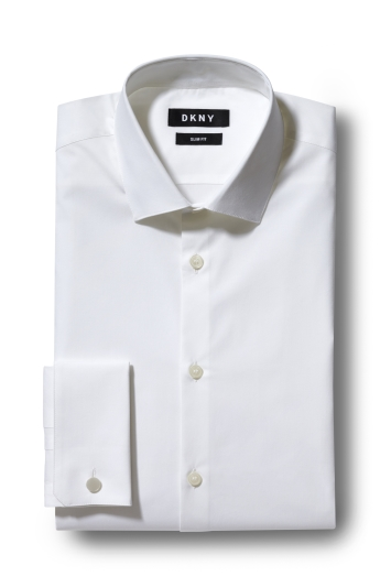 DKNY Slim Fit White Double Cuff Stretch Shirt