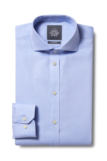 Savoy Taylors Guild Tailored Fit Blue Single Cuff Twill Non Iron Shirt