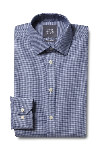 Savoy Taylors Guild Tailored Fit Navy Single Cuff Dobby Check Non Iron Shirt