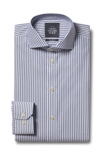 Savoy Taylors Guild Tailored Fit Blue Single Cuff Textured Stripe Non Iron Shirt