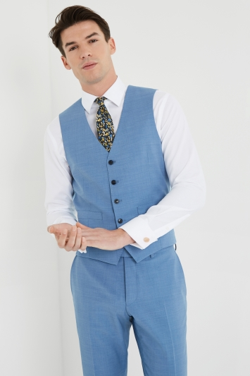 Moss 1851 Performance Tailored Fit Aqua Waistcoat