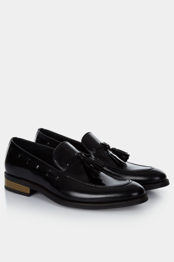 John White Nile Black Tassel Loafer Shoe