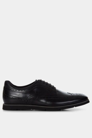 John White Laconia Black Wedge Sole Brogue Shoe